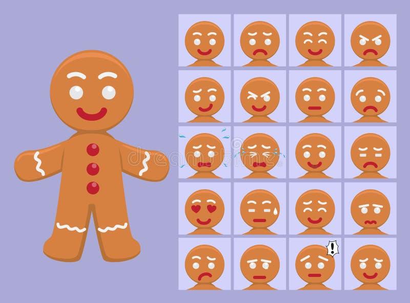 L'émotion mignonne de bande dessinée de pain d'épice fait face à l'illustration de vecteur illustration libre de droits