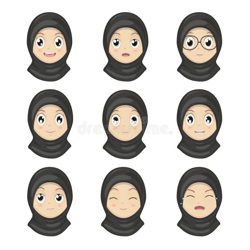 L'émotion musulmane de fille fait face à la bande dessinée Visages d'expression de femmes illustration de vecteur