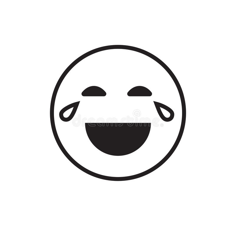 L'émotion positive de sourire de personnes de rire de visage de bande dessinée ouvrent l'icône de bouche illustration libre de droits