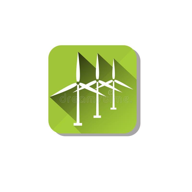 L'énergie de tour de turbine de vent réutilisent l'icône de technologie illustration libre de droits