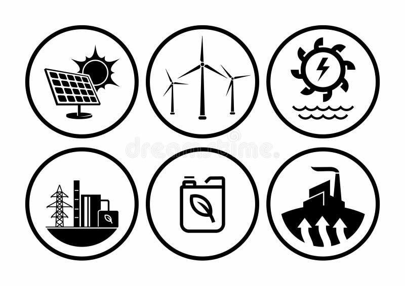 L'énergie renouvelable dactylographie, ensemble de vecteur d'icônes de centrale illustration de vecteur