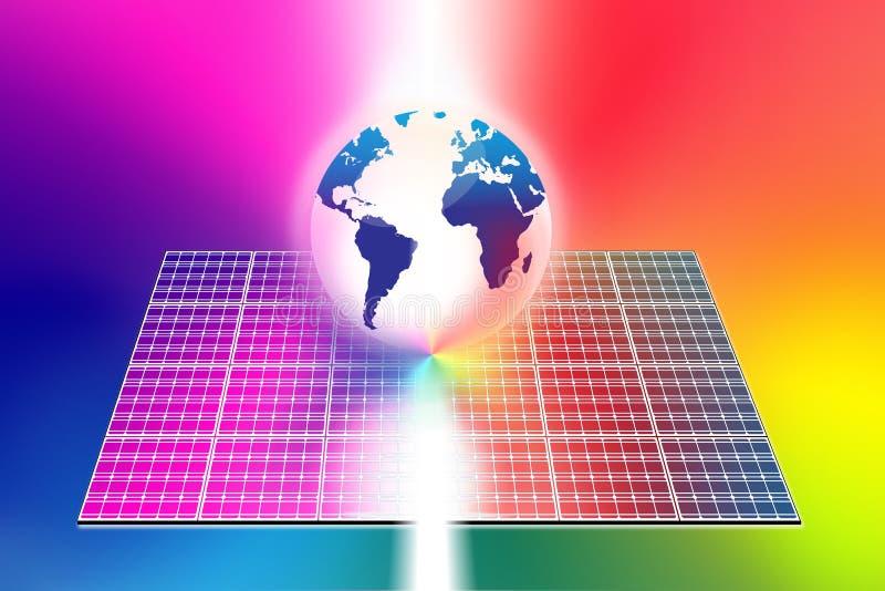 L'énergie solaire lambrisse le monde illustration de vecteur