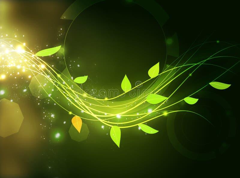 l'énergie verte ondule avec la feuille illustration libre de droits