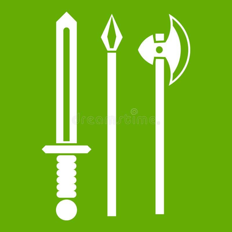 L'épée d'arme, la sélection et l'icône antiques de hache verdissent illustration libre de droits