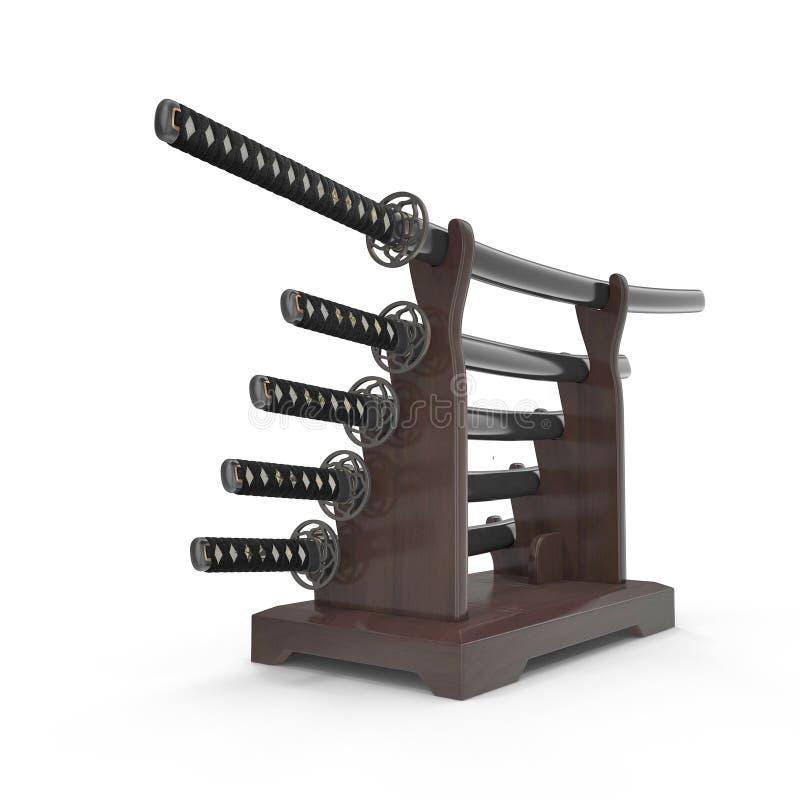 L'épée japonaise Katana Display Rack Stand 5 PCs a placé l'illustration 3D illustration de vecteur