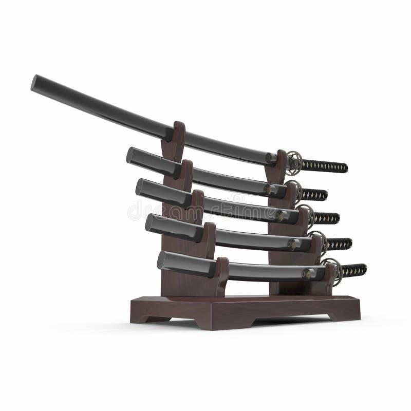 L'épée japonaise Katana Display Rack Stand 5 PCs a placé l'illustration 3D illustration stock