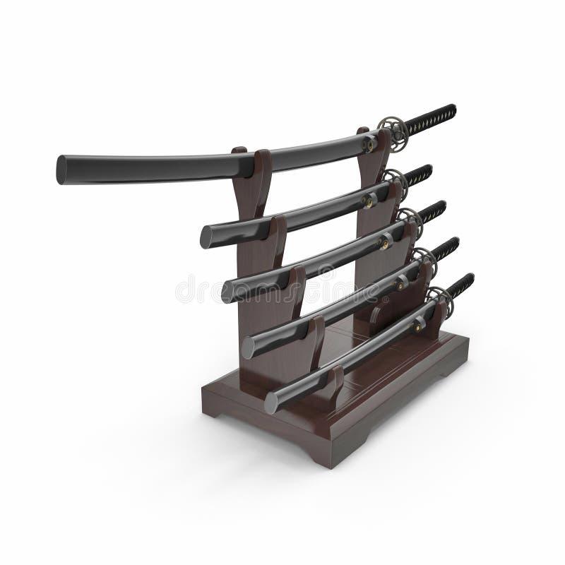L'épée japonaise Katana Display Rack Stand 5 PCs a placé l'illustration 3D illustration libre de droits