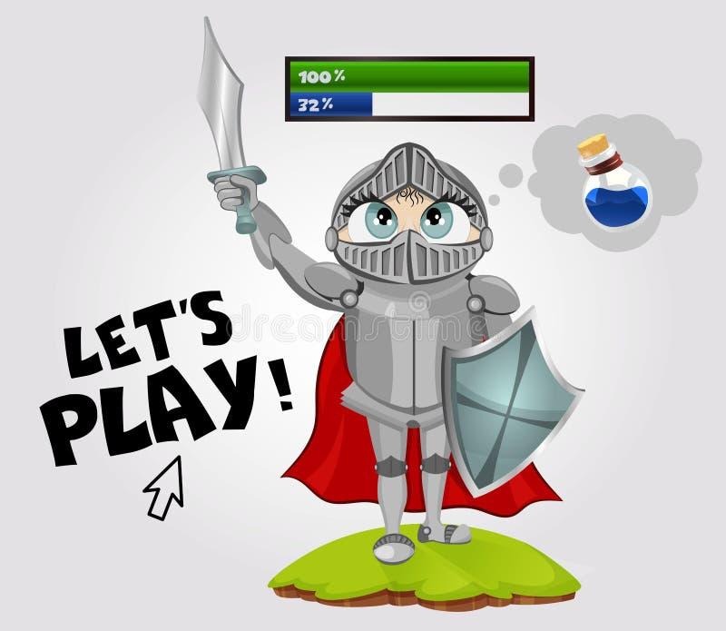 L'épéiste a employé tous les mana et rêves au sujet d'élixir Caractère masculin du jeu RPG d'imagination d'isolement sur le fond  illustration libre de droits