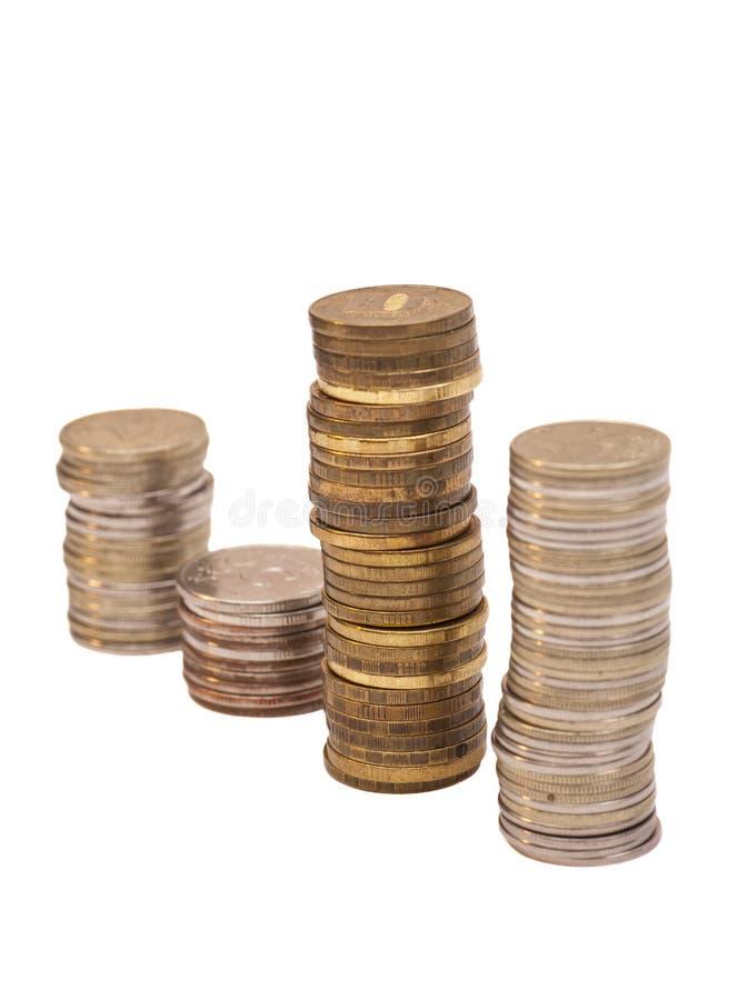 L'épargne, colonnes croissantes des pièces de monnaie photo stock