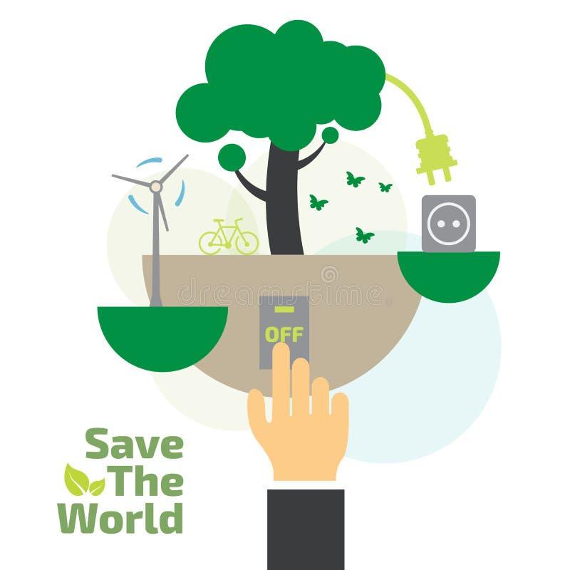 L'épargne concept, commutateur, concept d'énergie illustration de vecteur