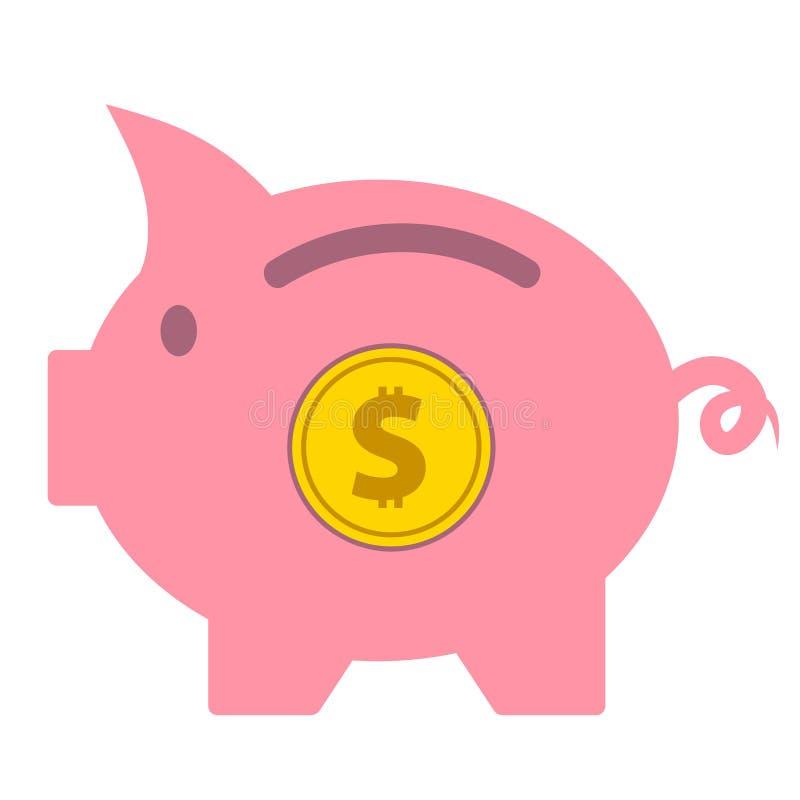 L'épargne porcine a isolé l'icône sur l'illustration blanche et courante de vecteur illustration stock