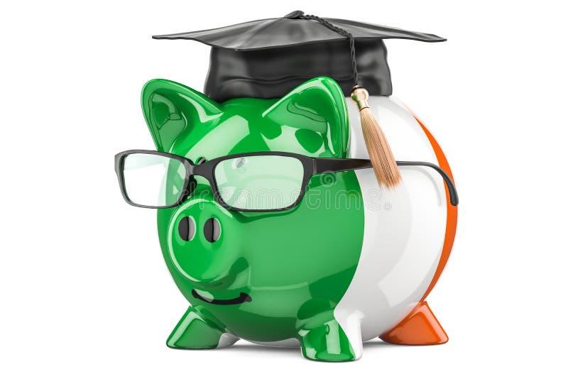 L'épargne pour l'éducation dans le concept de l'Irlande, rendu 3D illustration de vecteur