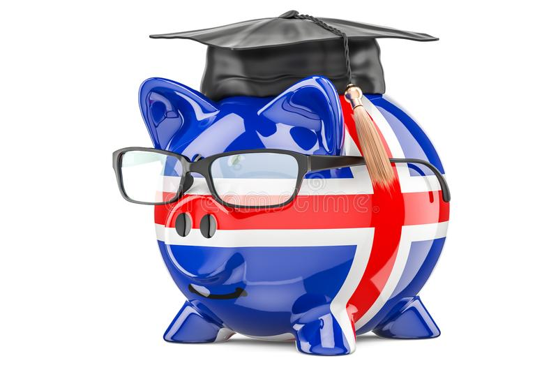 L'épargne pour l'éducation dans le concept de l'Islande, rendu 3D illustration stock