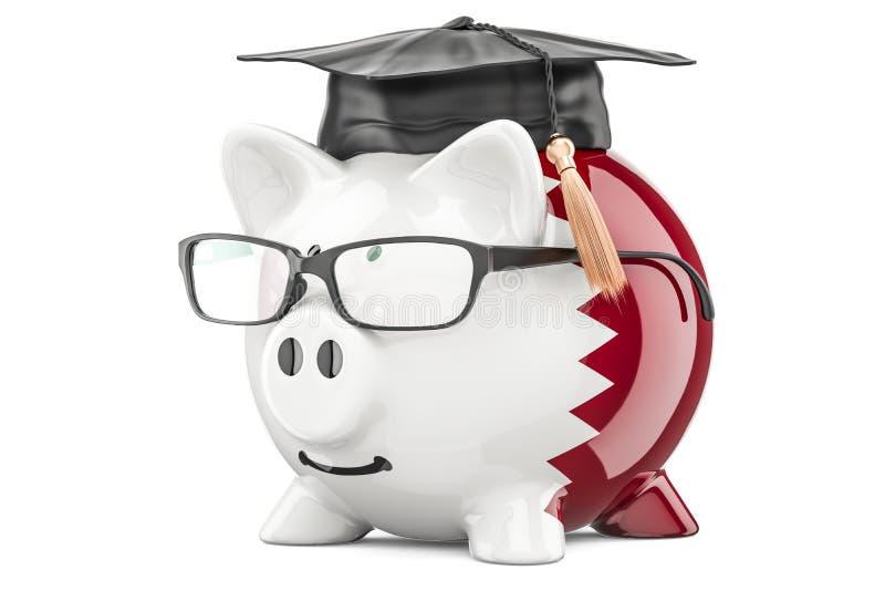 L'épargne pour l'éducation dans le concept du Qatar, rendu 3D illustration stock
