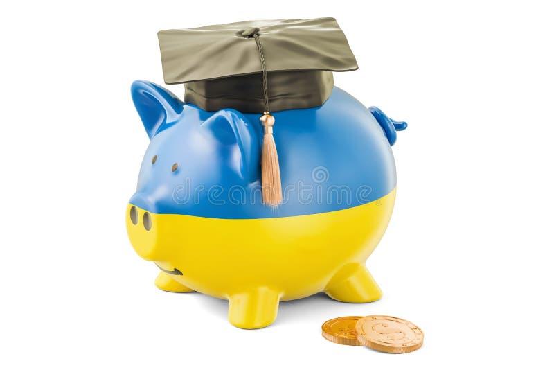 L'épargne pour l'éducation dans le concept de l'Ukraine, rendu 3D illustration de vecteur
