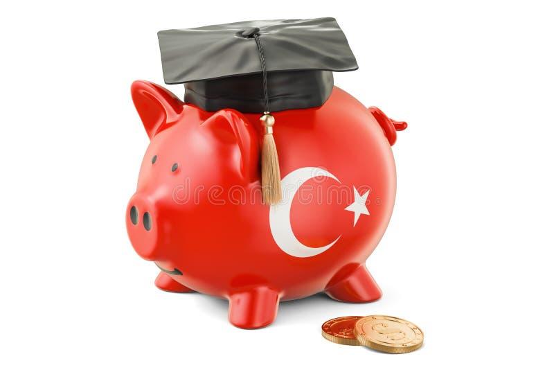 L'épargne pour l'éducation dans le concept de la Turquie, rendu 3D illustration libre de droits