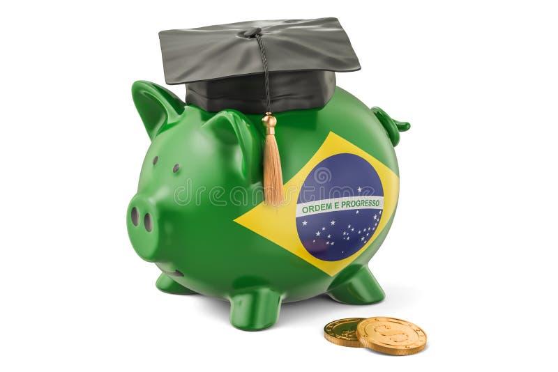 L'épargne pour l'éducation dans le concept du Brésil, rendu 3D illustration stock
