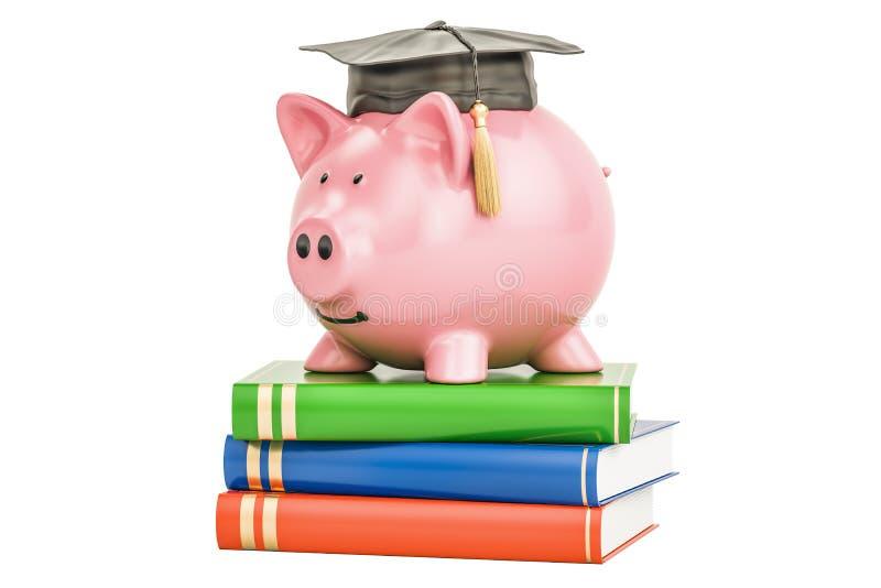 L'épargne pour le concept d'éducation, rendu 3D illustration libre de droits