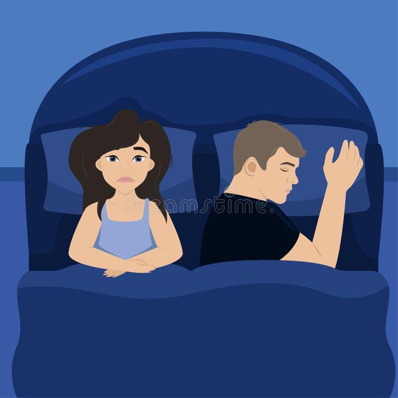 L'?pouse est dans le lit avec son mari insomnie Fille fatigu?e Illustration de vecteur illustration de vecteur