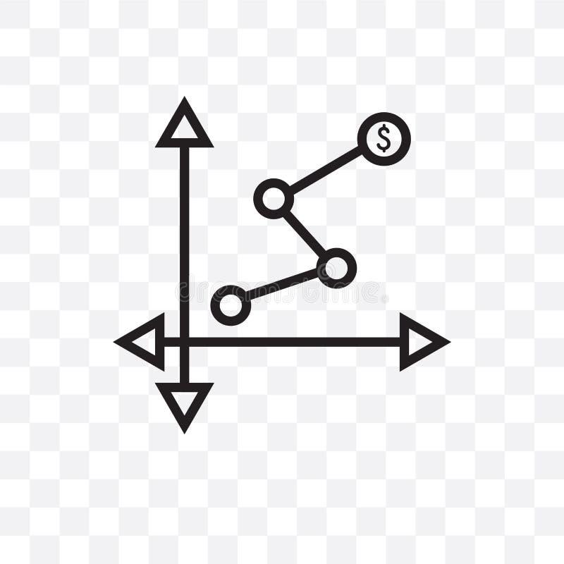 L'épuisement de l'icône linéaire de vecteur de diagramme d'isolement sur le fond transparent, épuisant le concept de transparent  illustration stock