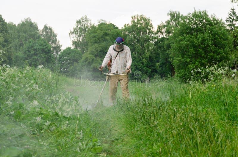 L'équilibre de coupe d'homme de travailleur fauchent l'herbe humide après pluie images libres de droits