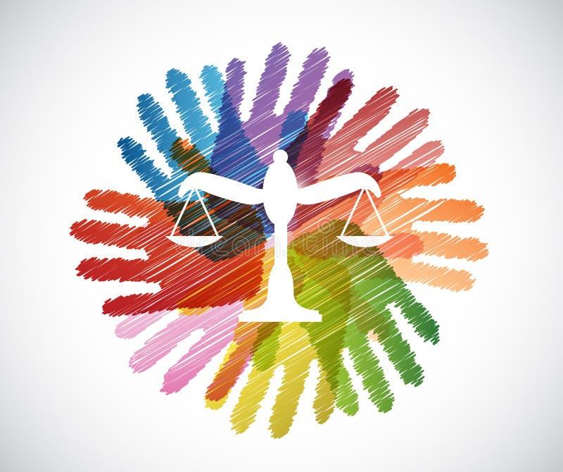 l'équilibre de loi au-dessus de la diversité remet le cercle illustration de vecteur