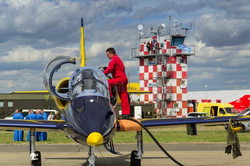 L'équipage baltique de Jet Team d'abeilles avec L-39 surface sur la piste images stock