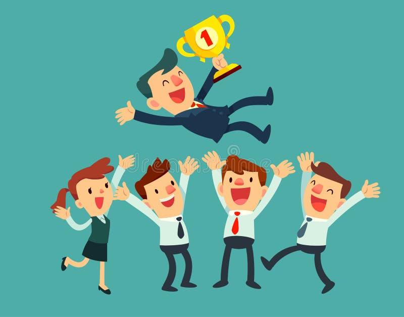 L'équipe d'affaires célèbrent leur succès illustration libre de droits