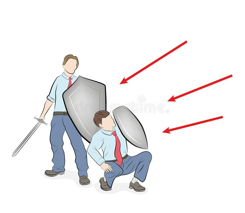 L'équipe d'affaires reflète des attaques teamwork Stratégie commerciale Illustration de vecteur illustration stock