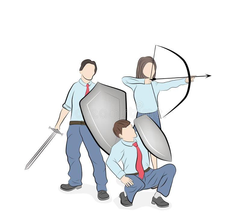 L'équipe d'affaires reflète des attaques teamwork Stratégie commerciale Illustration de vecteur illustration de vecteur