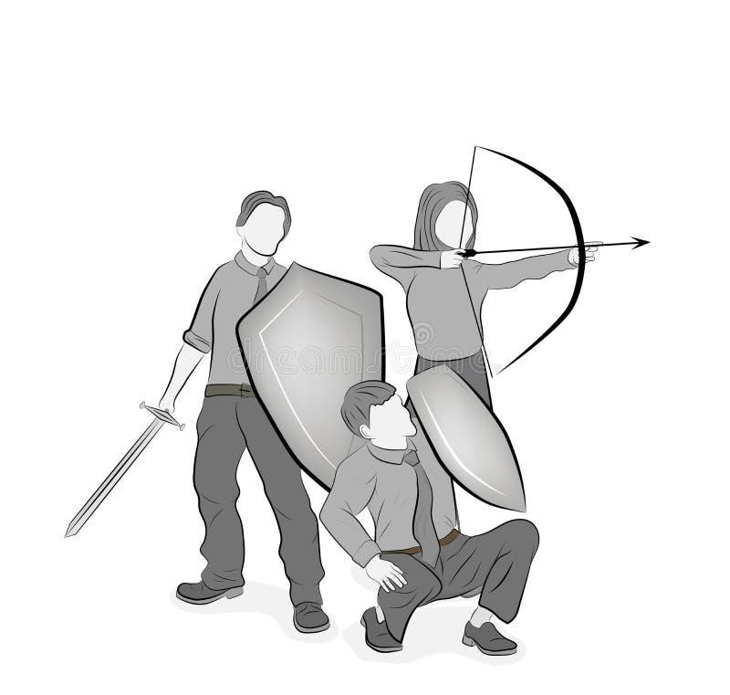 L'équipe d'affaires reflète des attaques teamwork Stratégie commerciale Illustration de vecteur illustration libre de droits