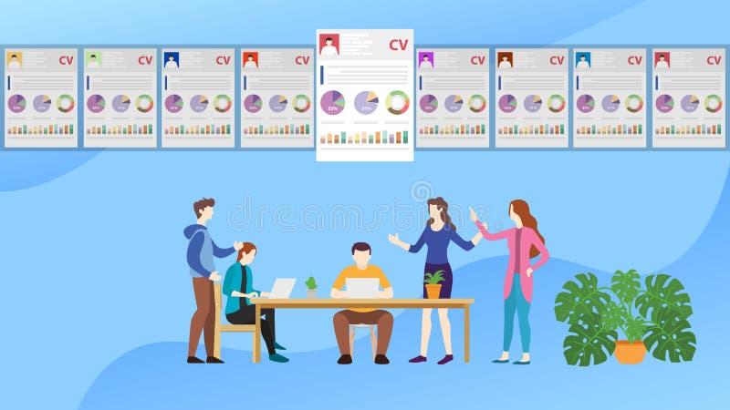 L'équipe de concept de recrutement choisissent le meilleur employé de candidat - illustration de vecteur illustration de vecteur