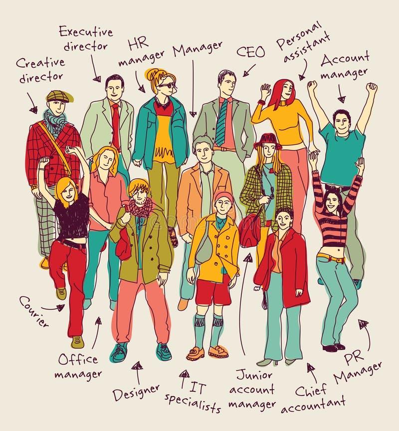 L'équipe de groupe d'affaires avec les courriers signés colorent les personnes heureuses illustration de vecteur