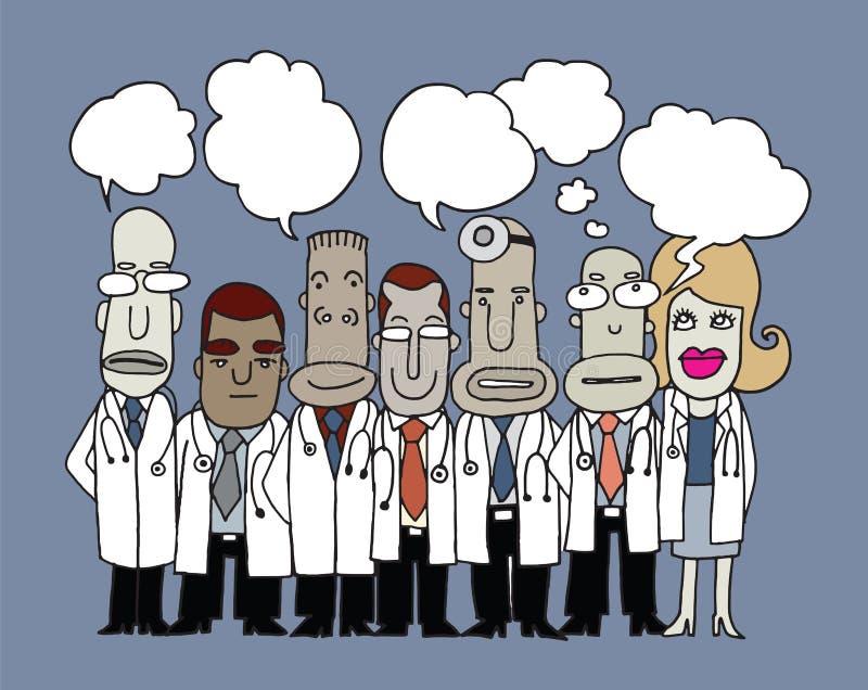 L'équipe de médecins se tiennent et parlent dans des bulles de la parole illustration libre de droits