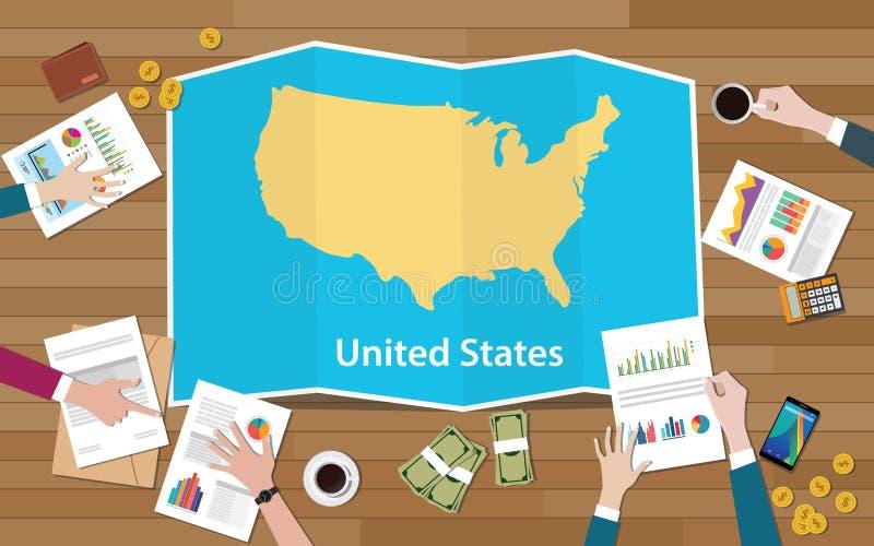 L'équipe de nation de croissance de pays d'économie des Etats-Unis Etats-Unis d'Amérique discutent avec la vue de cartes de pli à illustration de vecteur