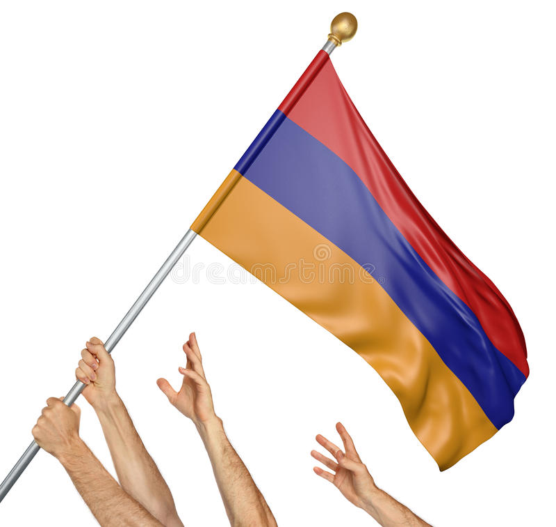 L'équipe de peuples remet soulever l'Arménie drapeau national illustration stock