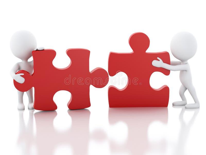 l'équipe de travail des personnes de race blanche 3d assemblent le morceau d'un puzzle illustration stock