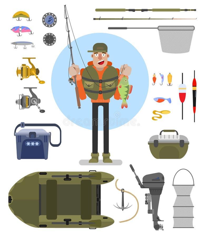 L'équipement de pêche a placé l'illustration plate de vecteur illustration stock