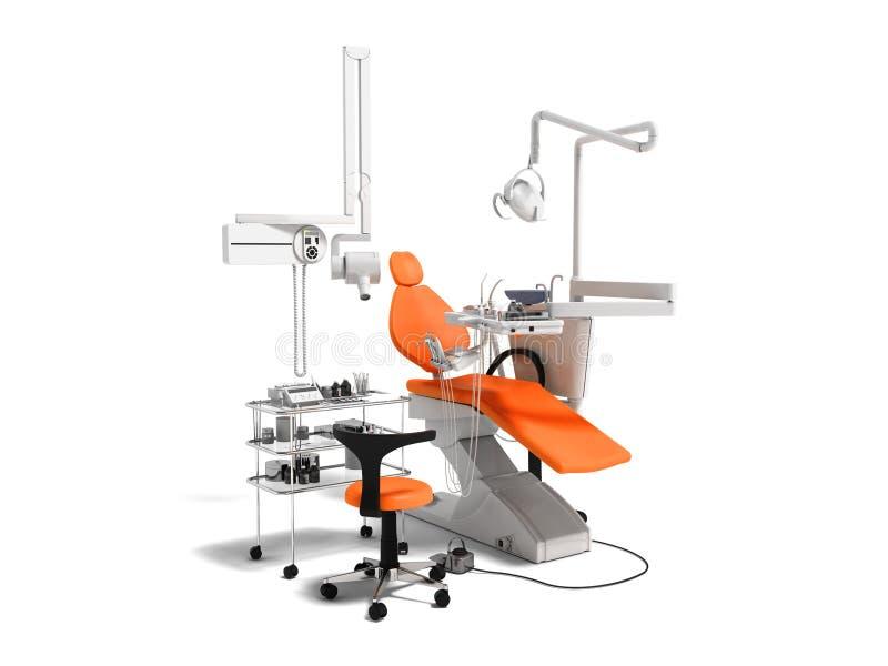 L'équipement dentaire orange moderne pour le traitement dentaire 3d rendent dessus photographie stock libre de droits