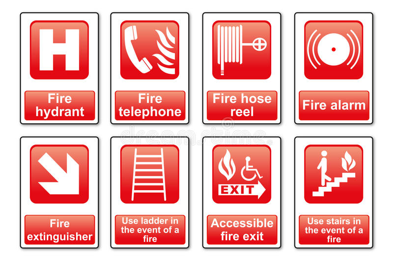 Signes d'équipement du feu photos stock