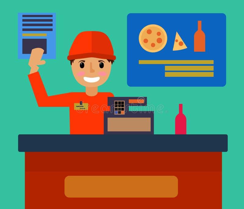 L'équipement et le caissier de bureau de compteur de magasin de supermarché travaillent comme employé dans la conception plate un illustration libre de droits