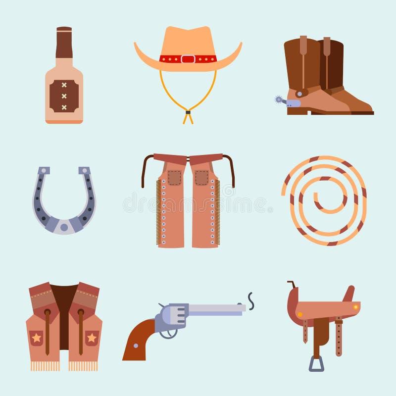 L'équipement occidental sauvage de rodéo de cowboy d'icônes d'ensemble d'éléments et les différents accessoires dirigent l'illust illustration libre de droits