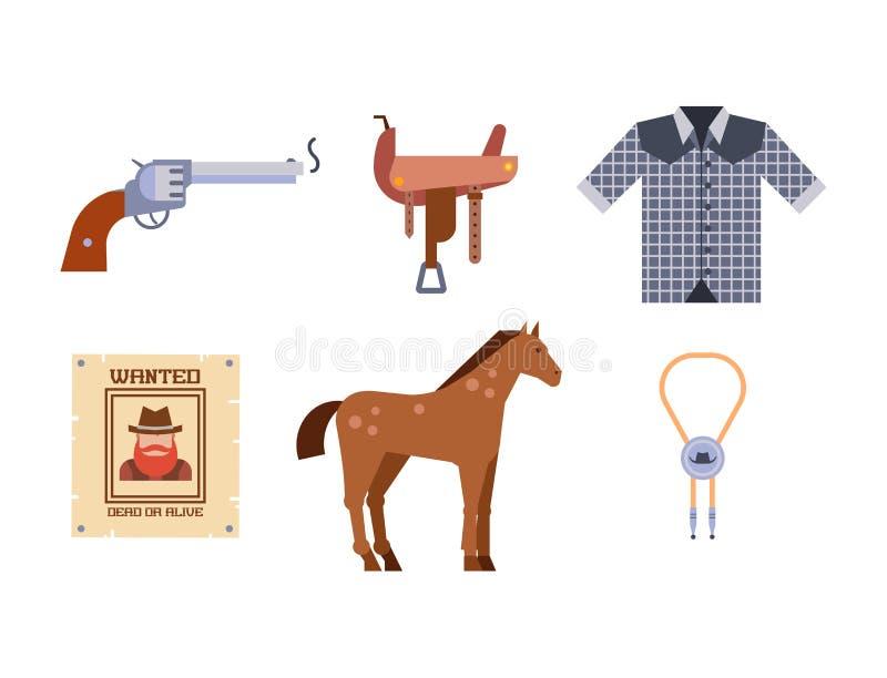 L'équipement occidental sauvage de rodéo de cowboy d'icônes d'ensemble d'éléments et les différents accessoires dirigent l'illust illustration de vecteur