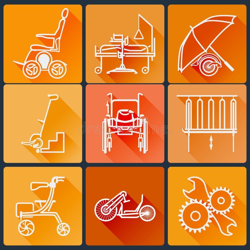 L'équipement pour des personnes handicapées Ensemble d'icônes lumineuses plates dans un style à la mode avec de longues ombres da illustration stock