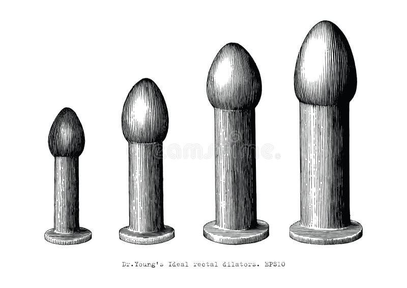 L'équipement rectal de dilateur a placé l'illu de vintage de dessin de main de quatre tailles illustration stock