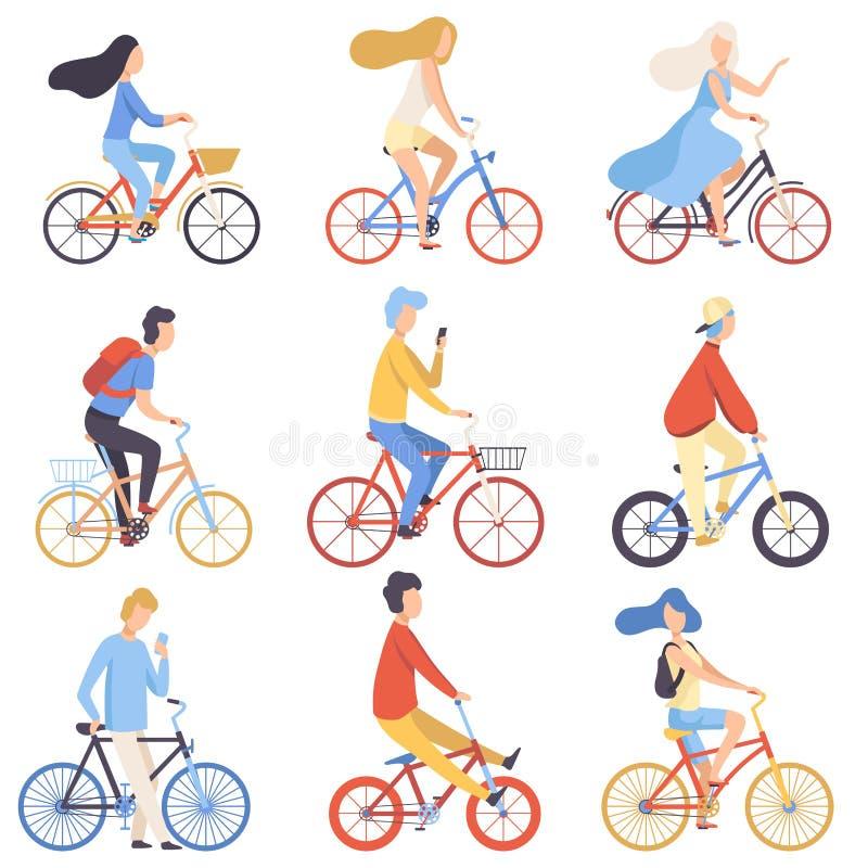 L'équitation de personnes va à vélo les hommes réglés et faisants un cycle et les femmes exerçant, détendant ou allant travailler illustration stock