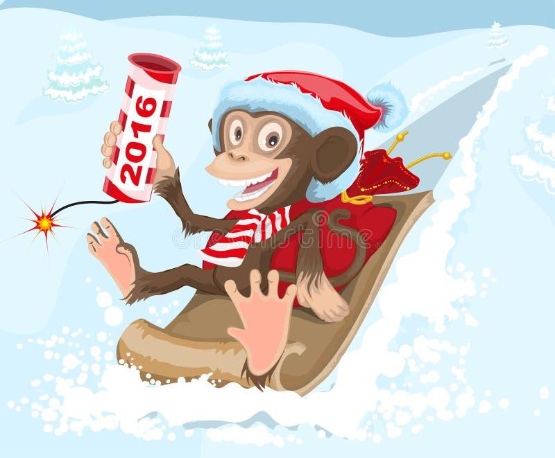 L'équitation de singe de Noël sur un traîneau et garde le pétard 2016 illustration stock