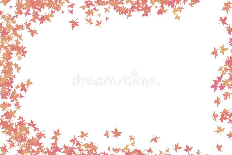L'érable abstrait de fond laisse le cadre rouge avec la couleur ronde de bords illustration stock
