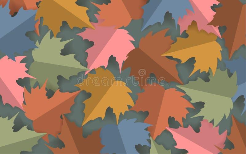 L'érable coloré par pastel de style de coupe de papier part du fond, bannière de thanksgiving de chute d'automne illustration libre de droits