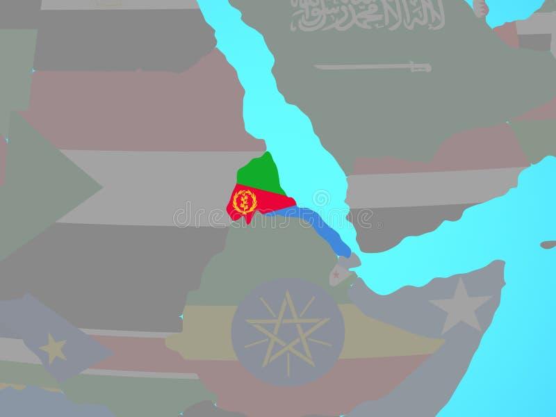 L'Érythrée avec le drapeau sur la carte illustration stock